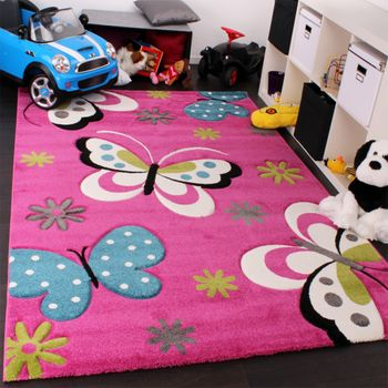 Kids' Rug - Butterfly Design - Green Grey Black Cream Magenta – Bild 1