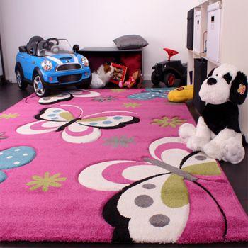 Kinder Teppich Schmetterling Design Grün Grau Schwarz Creme Pink – Bild 3