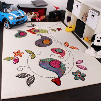 Kids Carpet Cute Birds Childrens Room Carpet in Cream Blue Orange Green – Bild 1
