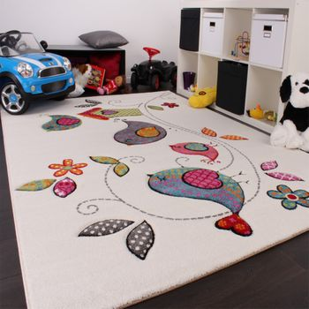 Kids Carpet Cute Birds Childrens Room Carpet in Cream Blue Orange Green – Bild 2