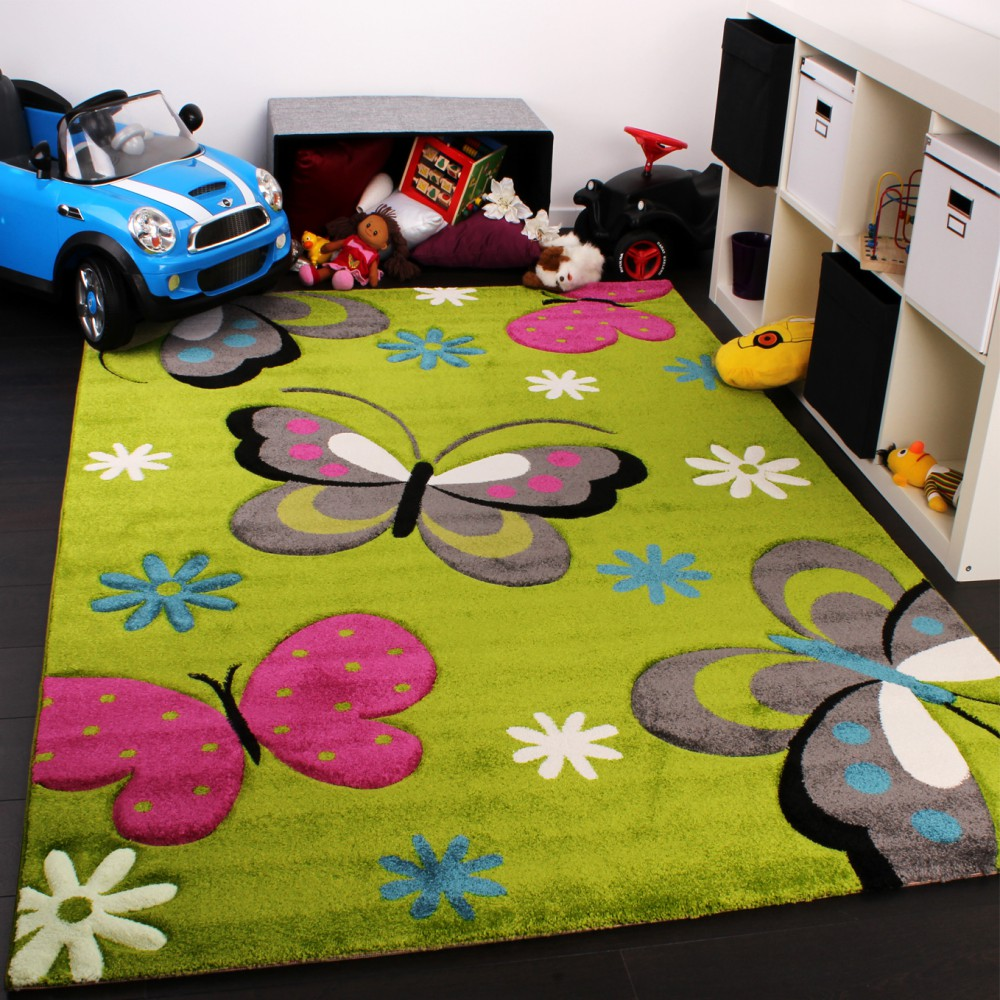 Kids Carpet With Butterfly Design Childrens Room Rug Green Cream Red Pink