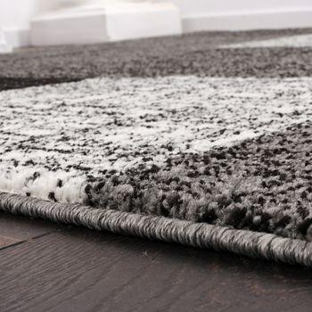 Designer Teppich Kurzflor Karo Muster Schwarz Grau Meliert – Bild 3