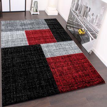 Designtapijt modern geruit korte vezel tapijt design gemengd in zwart grijs rood – Bild 1