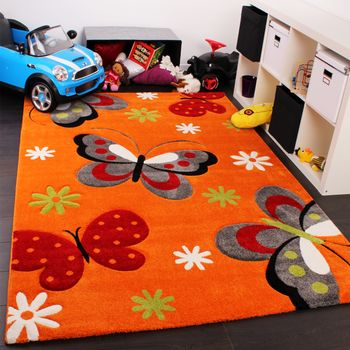 Kids Carpet Butterfly Pattern Childrens Room Rugs In Orange Red Cream Green – Bild 1