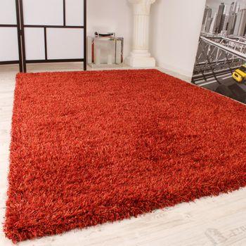 Shaggy Carpet High Pile Long Pile Slightly Mottled In Terracotta – Bild 2