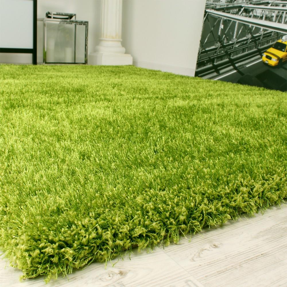 Grüner teppich günstig  Shaggy Teppich Hochflor Langflor leicht Meliert Qualitativ u ...