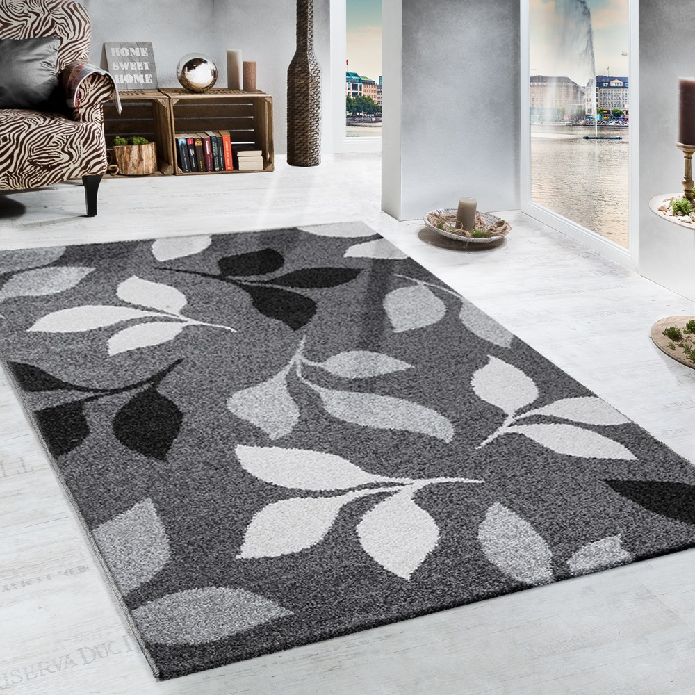 Heavy Woven Rug Floral Design Modern Carpet In Grey And Black