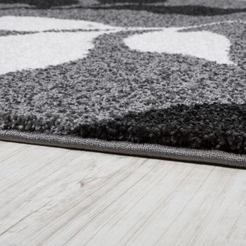 Heavy Woven Rug Floral Design Modern Carpet In Grey And Black – Bild 2