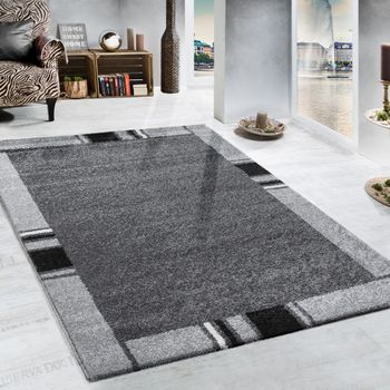 Heavy Woven Rug Border Design Modern Carpet In Grey And Black – Bild 1