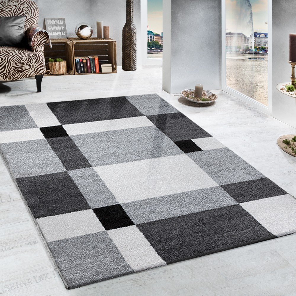 tapis tiss lourd motif carreaux en gris noir tapis tapis poil ras. Black Bedroom Furniture Sets. Home Design Ideas
