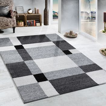 Heavy Woven Rug Chequered Design Modern Carpet In Grey And Black – Bild 1