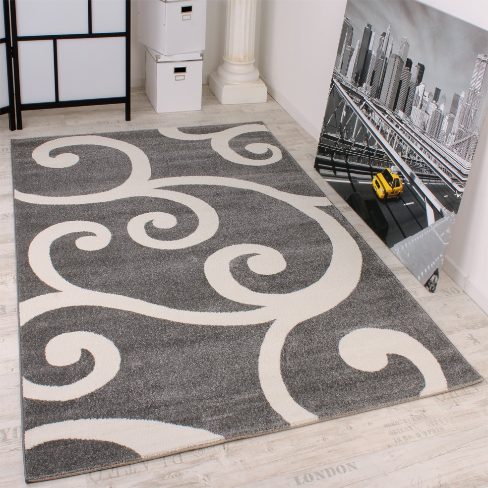 Modern Designer Carpet Grey White Pattern Top Quality At Top Price