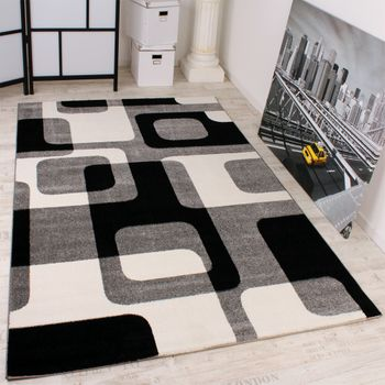 Designer Carpet Retro Style Black Grey White