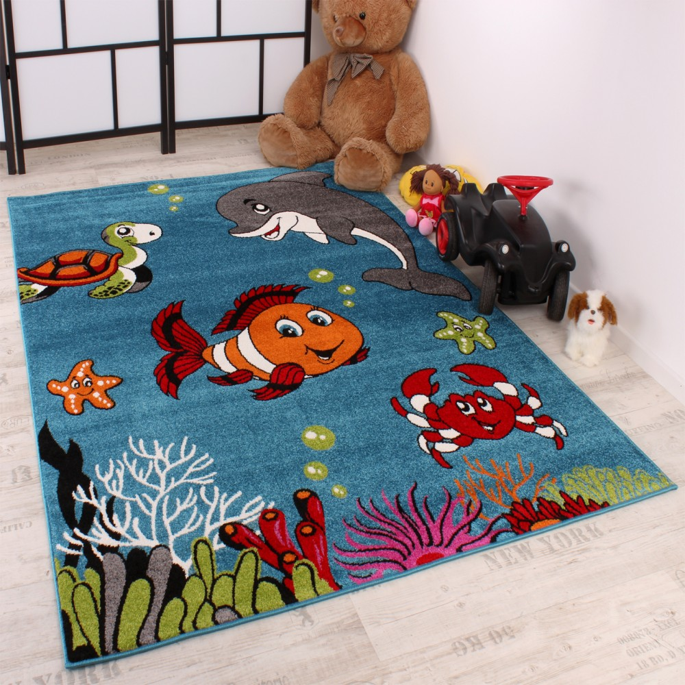 Kids Carpet Clown Fish Design Aqua Kids Room Carpet Turquoise Green Cream Pink