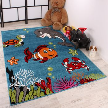 Kids Carpet Clown Fish Design Aqua turquoise