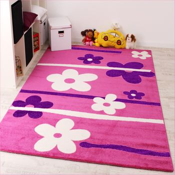Kids Carpet Flower Pattern Pink Purple White