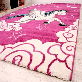 Kids Carpet The Little Unicorn Children Room Carpets In Pink Cream Turquoise – Bild 2