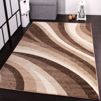 Designer Rug Modern Carpets for living room and more with Waves Design in Beige – Bild 1