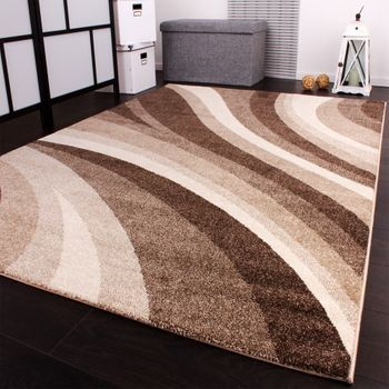 Designer Rug Modern Carpets for living room and more with Waves Design in Beige – Bild 3