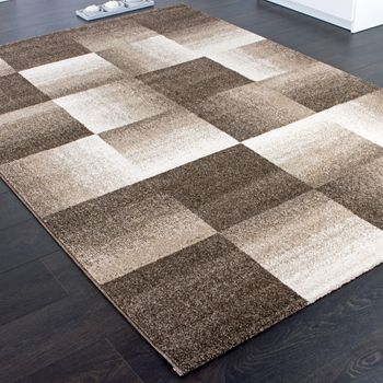 Designer Carpet Modern Home Rug Checkered Squares in Brown Beige Cream – Bild 2