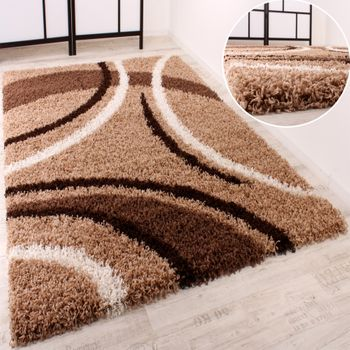 Shaggy Carpet High Pile Long Pile Patterned in Brown Beige Cream – Bild 1