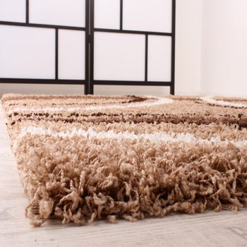 Shaggy Carpet High Pile Long Pile Patterned in Brown Beige Cream – Bild 3
