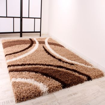 Shaggy Carpet High Pile Long Pile Patterned in Brown Beige Cream – Bild 2