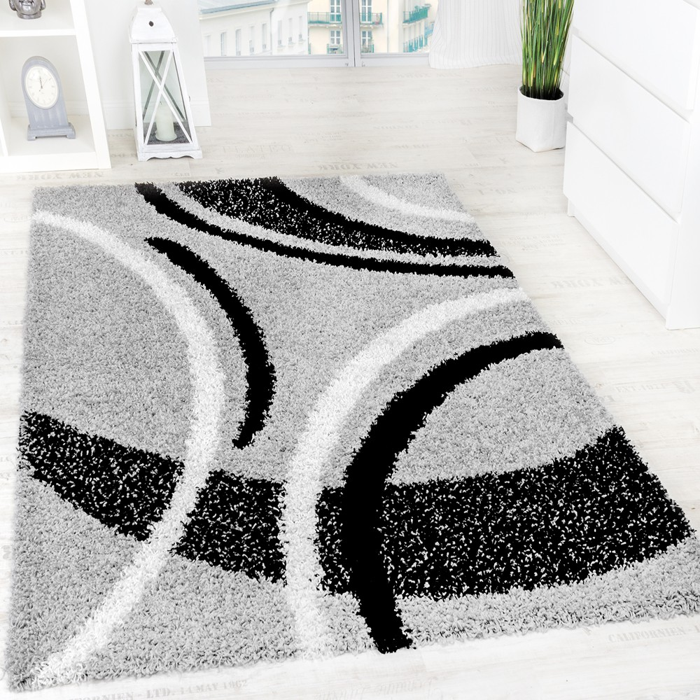 Shaggy carpet High Pile Long Pile Patterned In Grey Black White