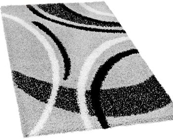 Shaggy carpet High Pile Long Pile Patterned In Grey Black White – Bild 2