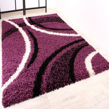 Shaggy Carpet High Pile Long Pile Patterned in Purple Black White – Bild 1