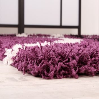 Shaggy Carpet High Pile Long Pile Patterned in Purple Black White – Bild 3