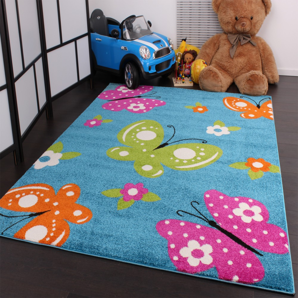 Kids Carpet Butterfly Turquoise Cream Pink Green Orange Design