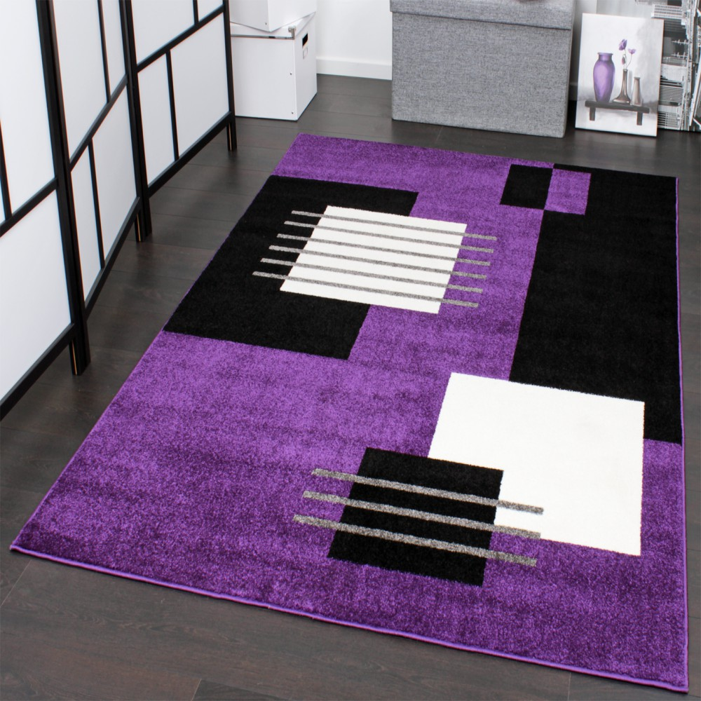 Designer Carpet Chequered Pattern Black Purple White Top Quality At Top Price