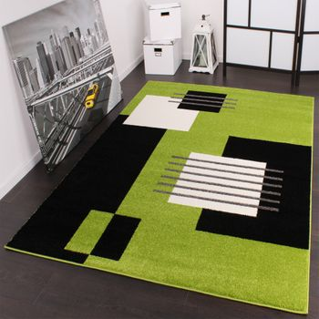 Designer Carpet Modern Chequered Green Black White