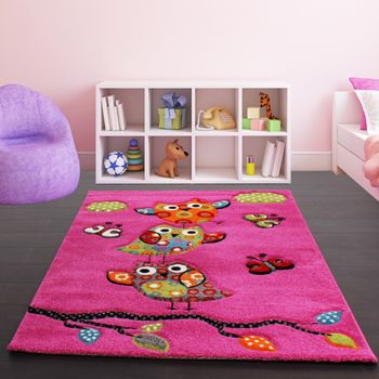 Kids Carpet Cute Owls Modern Children Rug in Pink Fuchsia Green Blue – Bild 1