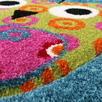 Kids Carpet Cute Owls Modern Children Rug in Blue Turquoise Orange Cream Green – Bild 3