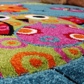 Kids Carpet Cute Owls Modern Children Rug in Blue Turquoise Orange Cream Green – Bild 5