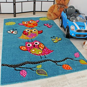 Kids Carpet Cute Owls Turquoise