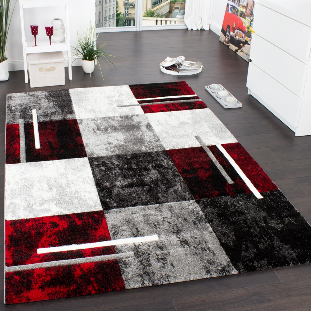 Designer Carpet Modern With Contour Cut Chequered In Silver Black Red