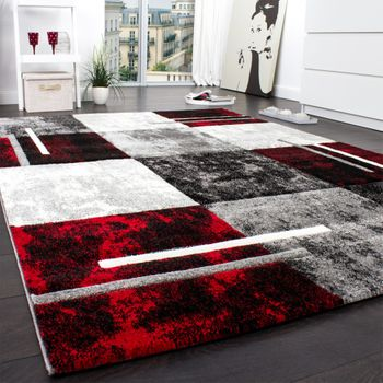 Designer Carpet Modern With Contour Cut Chequered In Silver Black Red – Bild 2