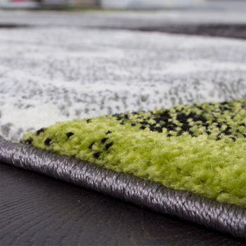 Designer Teppich Modern mit Konturenschnitt Karo Muster Grau Schwarz Grün – Bild 3