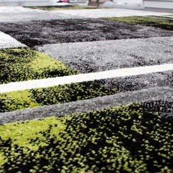 Designer Teppich Modern mit Konturenschnitt Karo Muster Grau Schwarz Grün – Bild 4