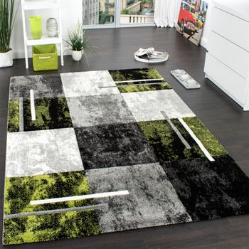 Designer Carpet  Modern With Contour Cut Chequered In Silver Green