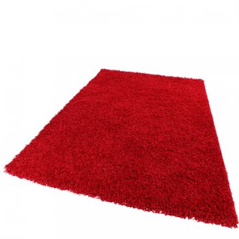 Shaggy Rug High Pile Long Pile Modern Carpet Uni Red – Bild 1