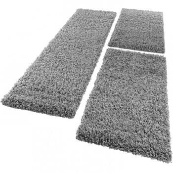 Bedside 3-Part Carpet Runner Set / Shaggy Carpet in Grey