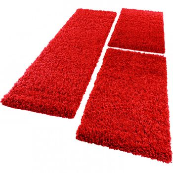 Bedside Runner Rug / 3-Part Carpet Runner Set / Shaggy Carpet in Red – Bild 5