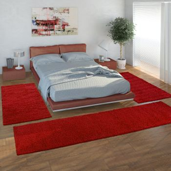 Bedside Runner Rug / 3-Part Carpet Runner Set / Shaggy Carpet in Red – Bild 1