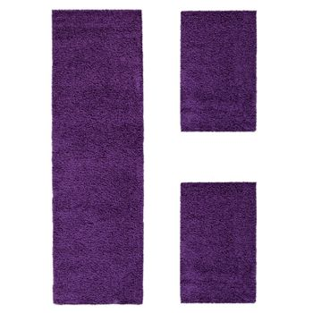 Bedside Runner Rug / 3-Part Carpet Runner Set / Shaggy Carpet in Purple – Bild 2