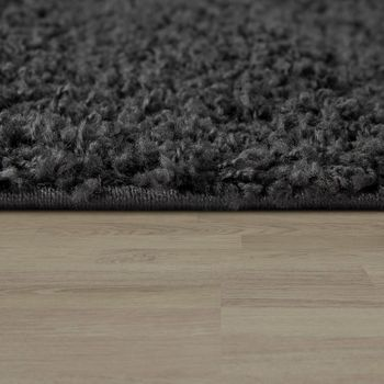 Bedside Runner Rug / 3-Part Carpet Runner Set / Shaggy Carpet in Anthracite – Bild 4