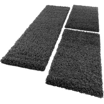 Bedside Runner Rug / 3-Part Carpet Runner Set / Shaggy Carpet in Anthracite – Bild 2